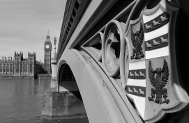 Westminster Bridge and the Palace of Westminster with Elizabeth Tower   London UK
